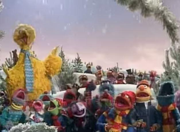 A Sesame Street Christmas Carol.The Sesame Street Gang Singing Deck The Halls Muppets