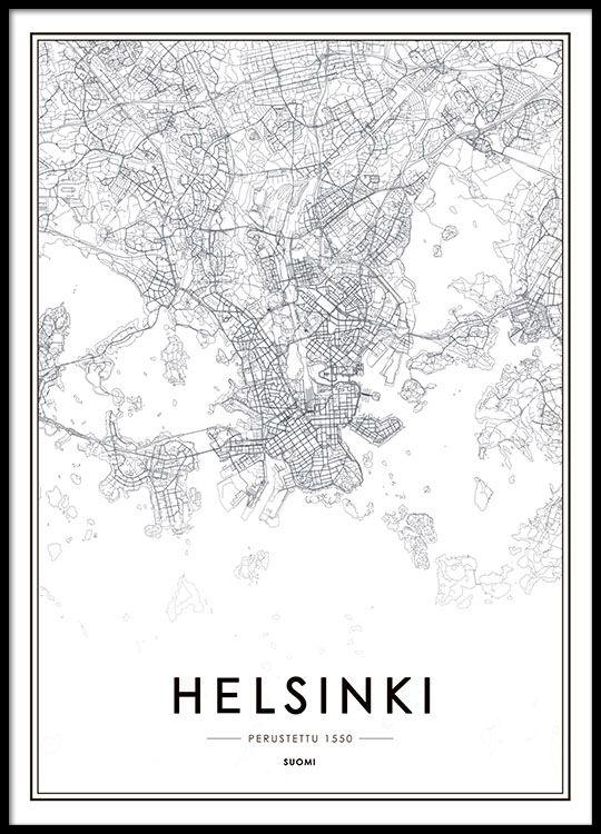 Helsinki Map Julisteet Karttajuliste Juliste Kartta