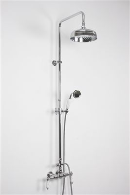 Edwardian Exposed Wall Shower With Diverter And Handheld In Chrome