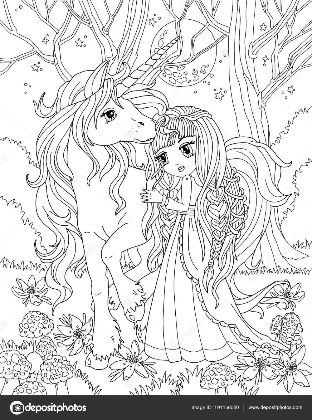 Coloriage Licorne Princesse — Photographie larisakuzovkova  en