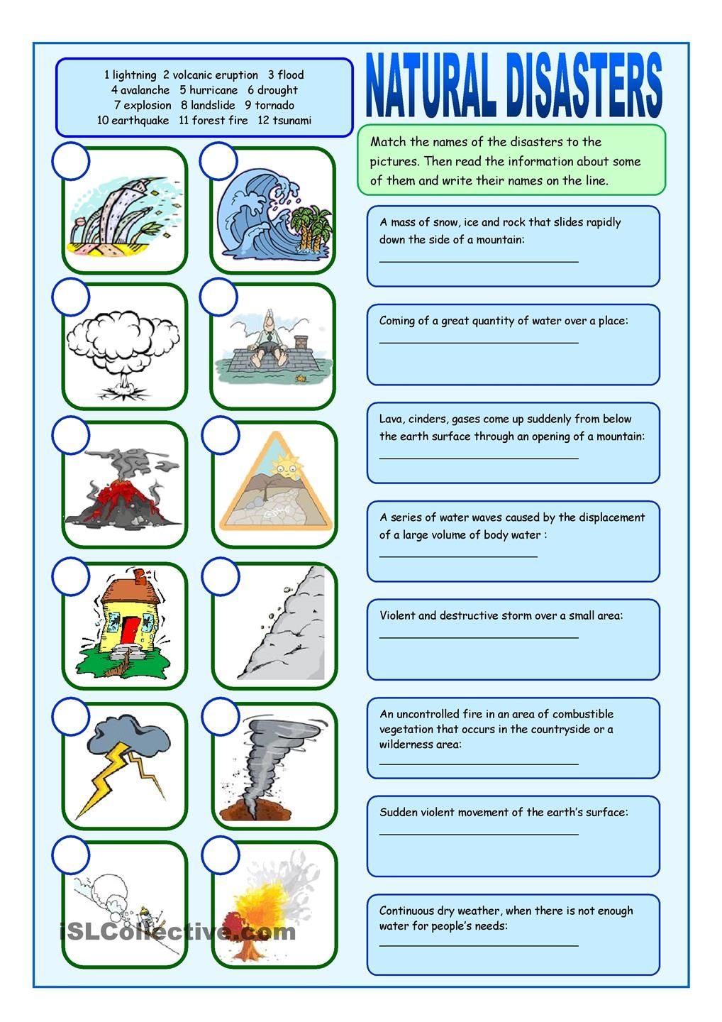 natural disasters vocabulary exercises tefl natural disasters matching exercises