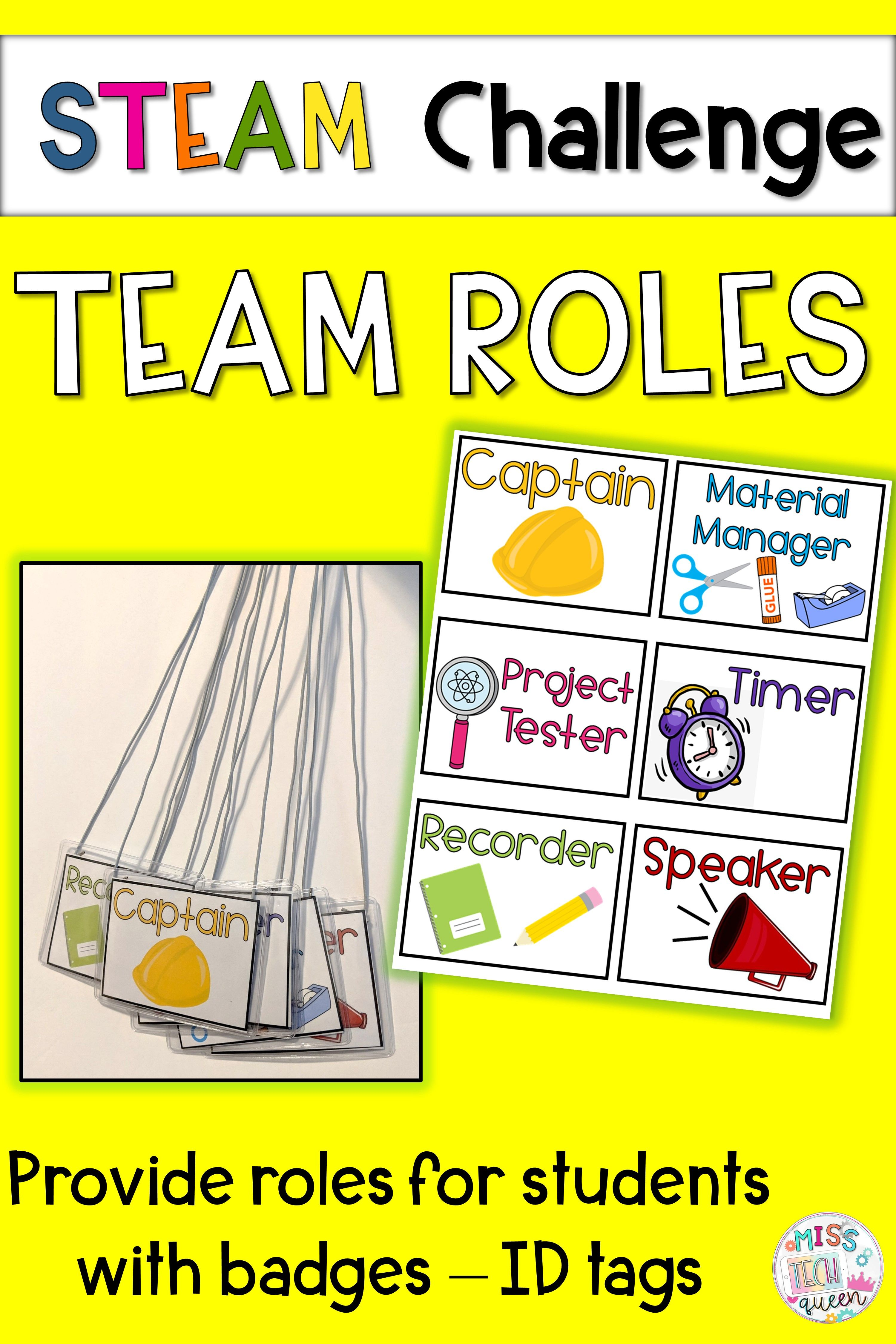Looking To Organize Your Students During STEM Challenges Provide Them With Assigned Roles This