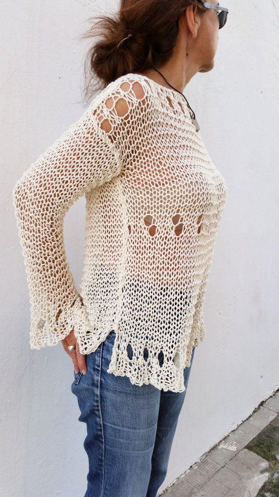 f8856918619e Loose cream sweater for women hand knit pullover por EstherTg