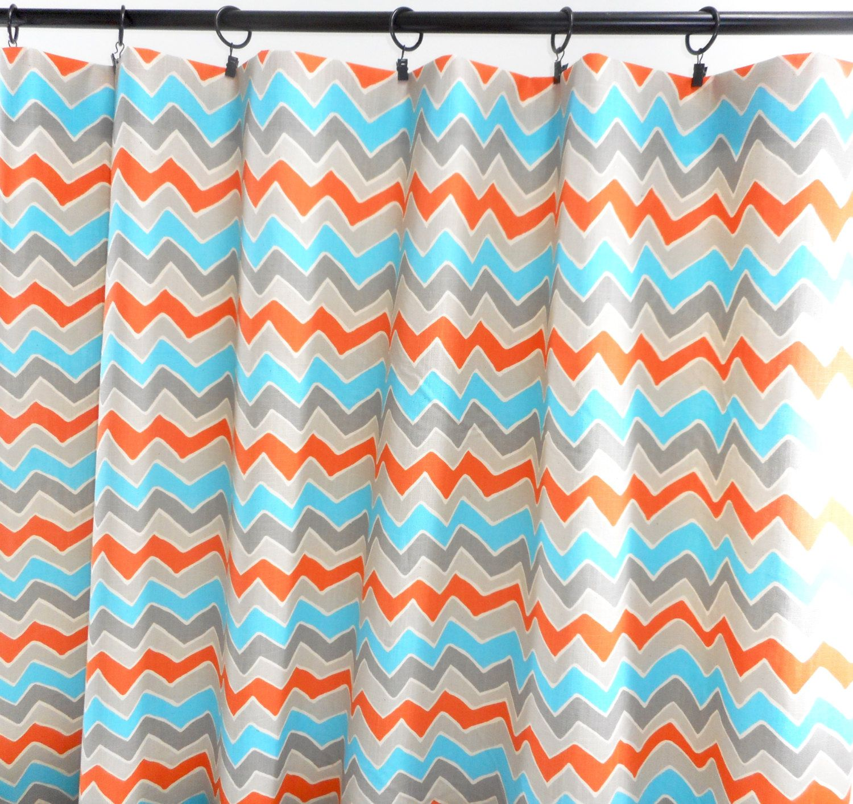 Orange Curtains Grey Blue And Orange Panels Zigzag Curtains Chevron See Saw Design Cotton Unlined Designers Choose Si Orange Curtains Curtains Blue Grey