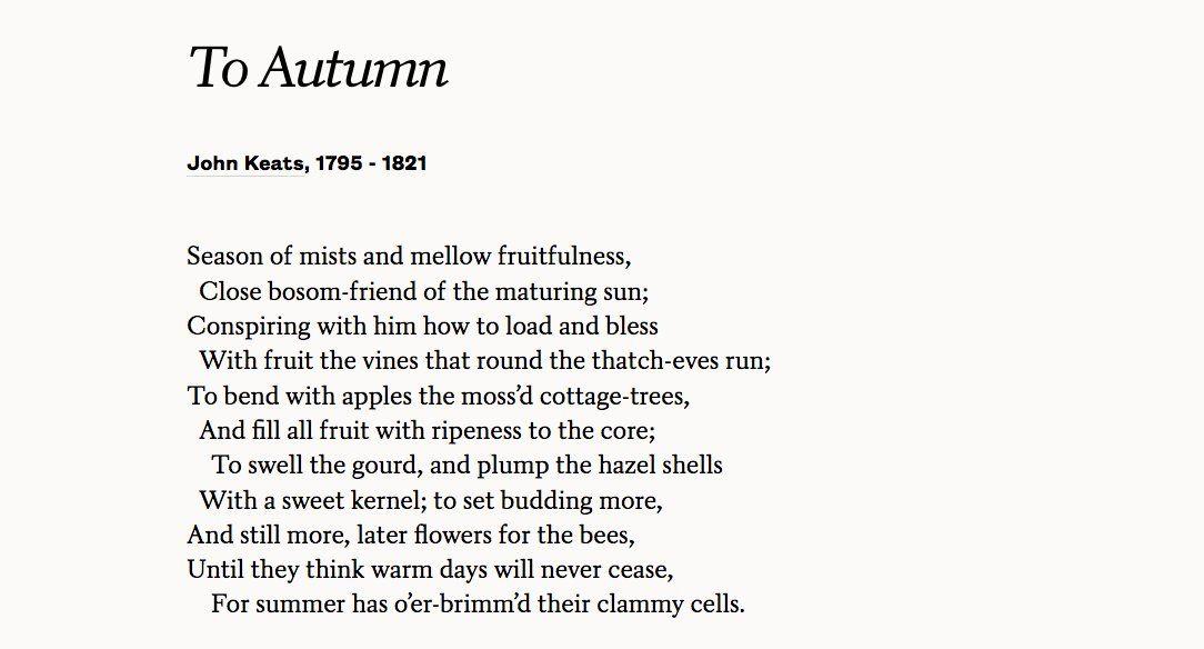 "John Keats' ""To Autumn""—written on this day, 1819. Read the full poem: https://www.poets.org/poetsorg/poem/autumn# …"