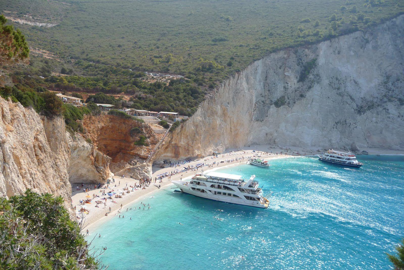 Cruise Boats on the beach: Porto Katsiki of Lefkada ...