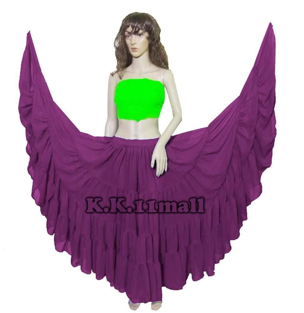 LIME GREEN Cotton Tribal Fusion Gypsy 25 Yard 4 Tier Skirt Belly Dancing ATS