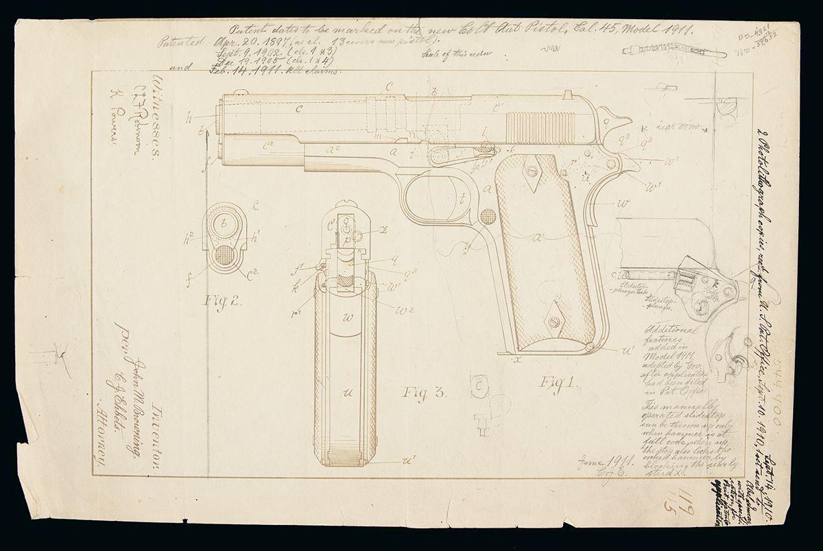 Original 1911 patent drawing by john browning