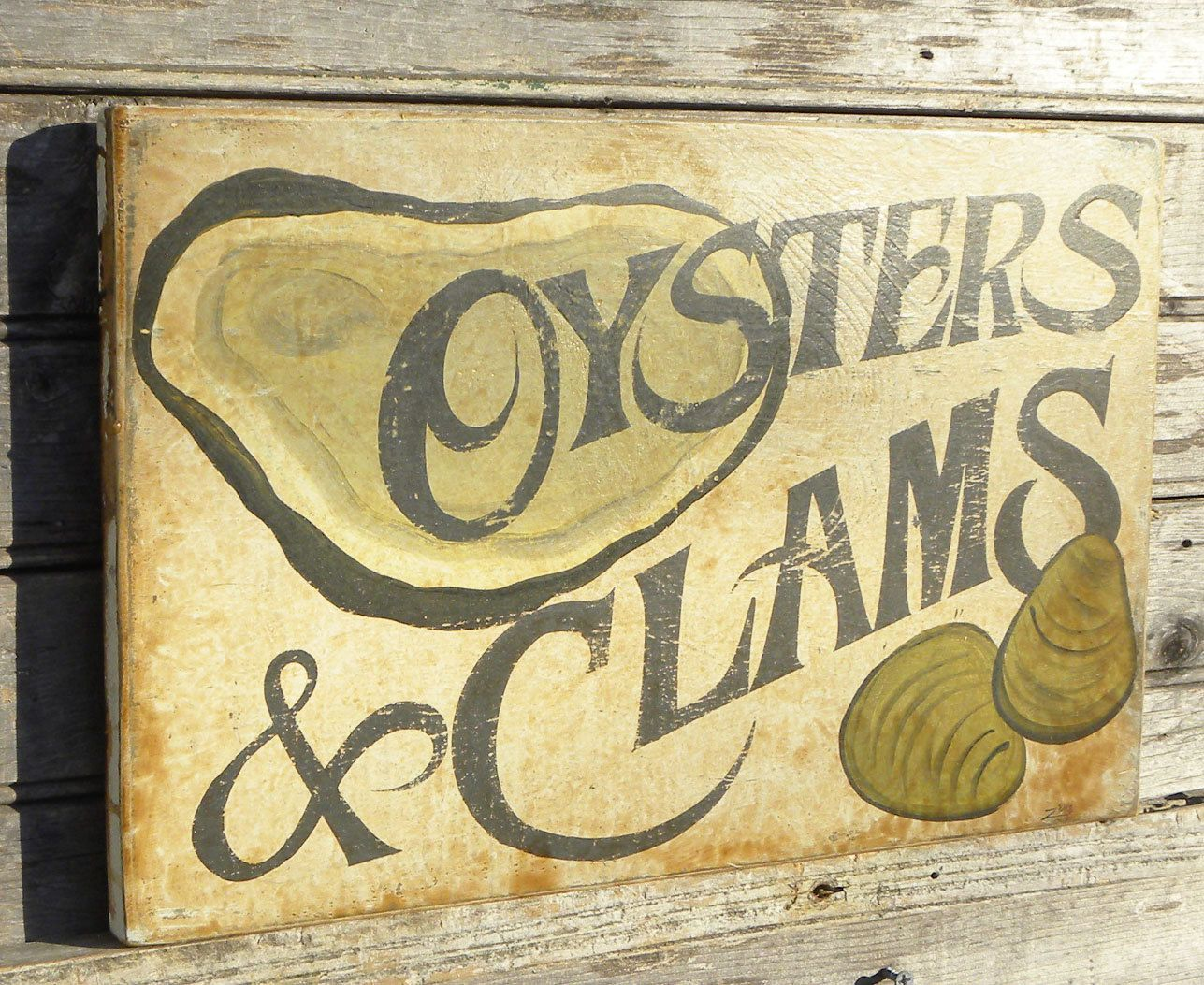 Seafood- Oyster & Clams Sign, wooden, hand painted | Hanging art ...