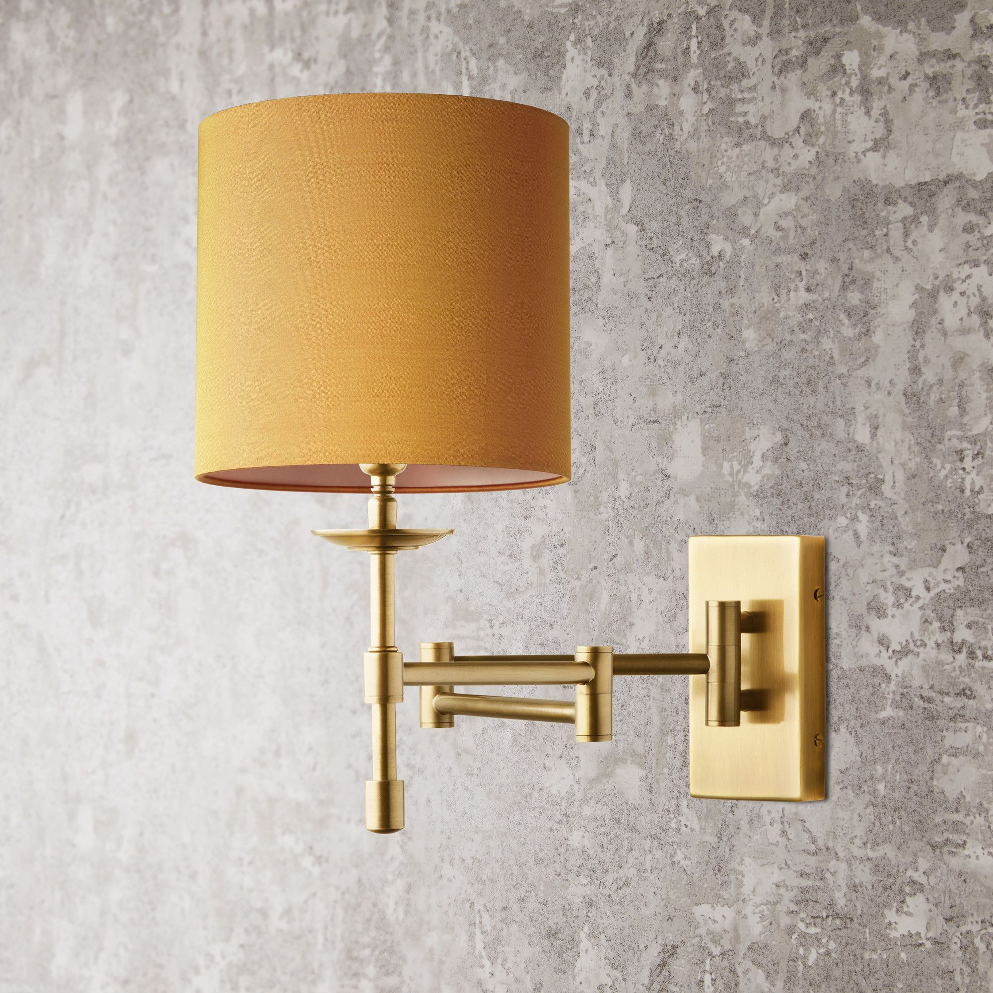 Three Fold Wall Fitting In Antique Brass With 18cm Drum Shade In Saffron Dupion Silk In 2020 Wall Lights Hall Lighting Drum Shade