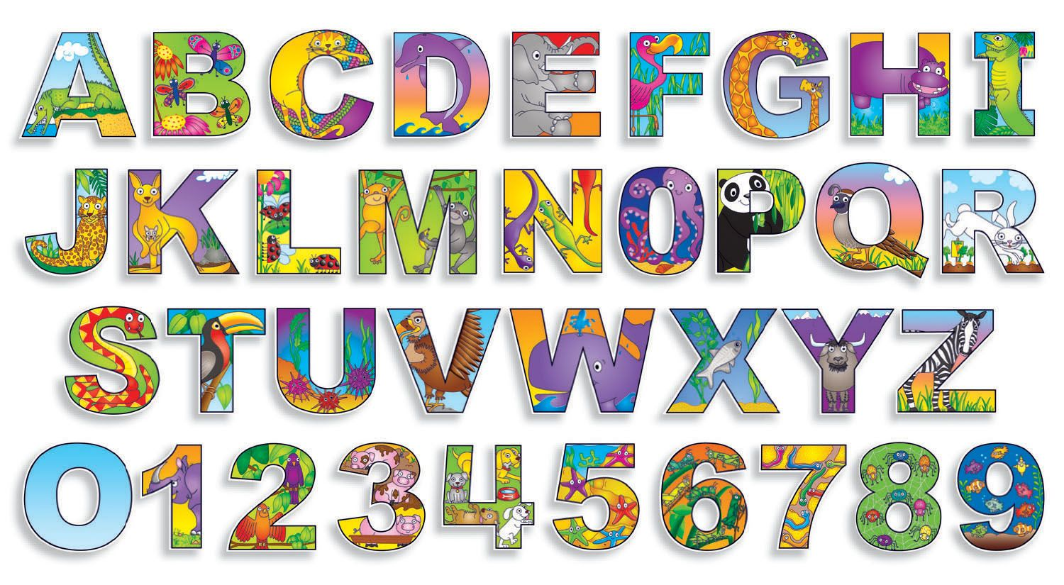 Illustrated Alphabet Numbers Bulletin Board Assortment School