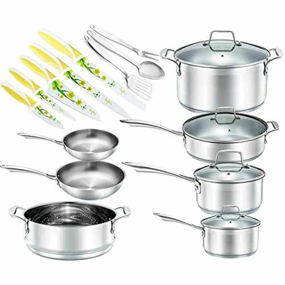 Chefs Cookware Sets Star 19 Piece Stainless Steel Pot Pans