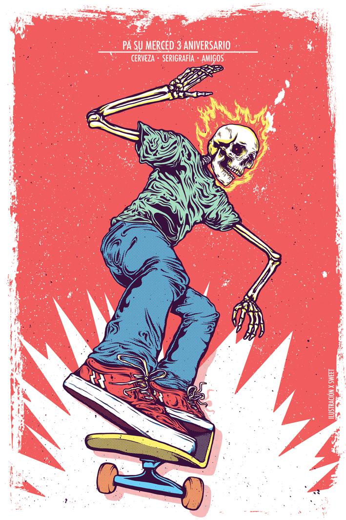 4250c8ed38d0 Skate ghost rider on Behance   Digital Art   Skateboard art, Skate ...