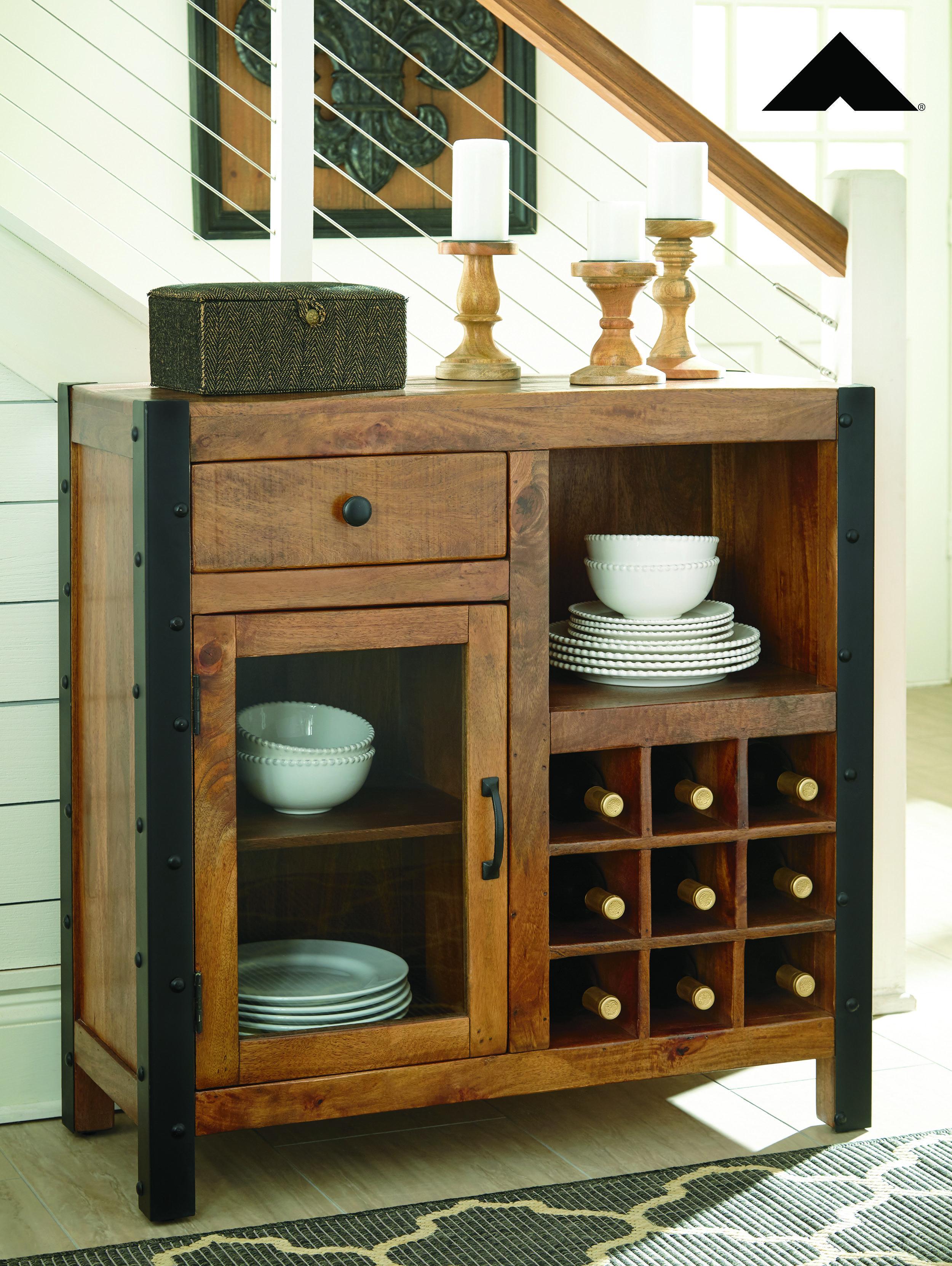 Glosco Warm Brown Wine Cabinet By Ashley Furniture Ashleyfurniture Homedecor Diningroom Wineserver