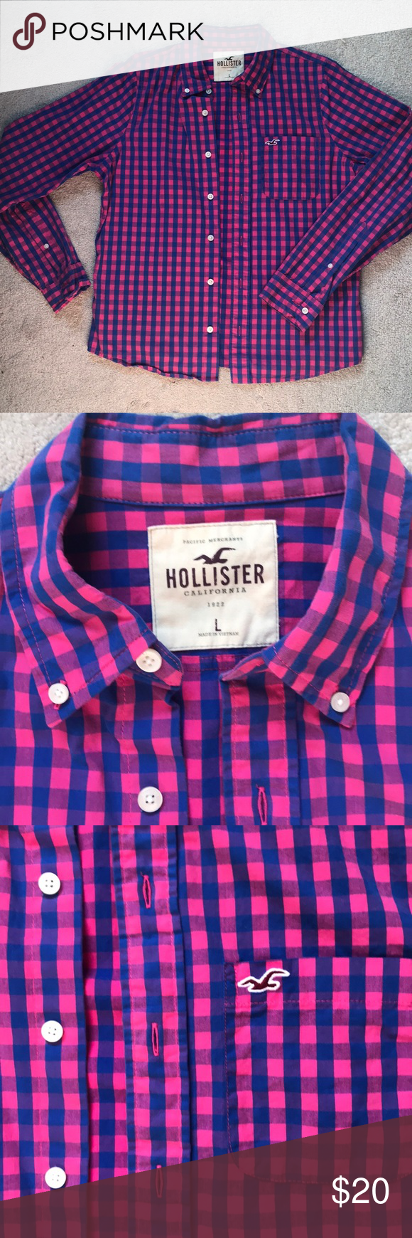 Casual pink dress shirt  Menus checkered pink and blue button down shirt  My Posh Closet