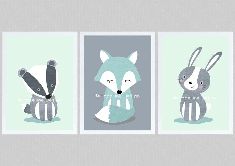 Bilder Kinderbilder Set 1 WALDTIERE Dachs Fuchs Hase