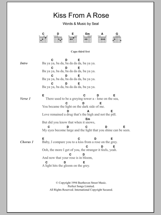 Kiss From A Rose by Seal - Guitar Chords/Lyrics - Guitar Instructor ...