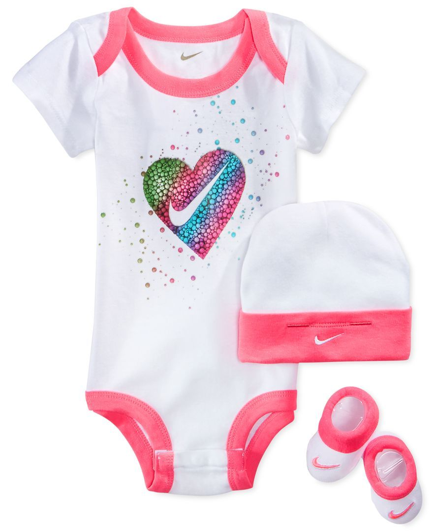 Nike Baby Girl Clothes Custom Nike Baby Girls' 3Piece Bubblegum Heart Bodysuit Hat & Booties Set Inspiration Design