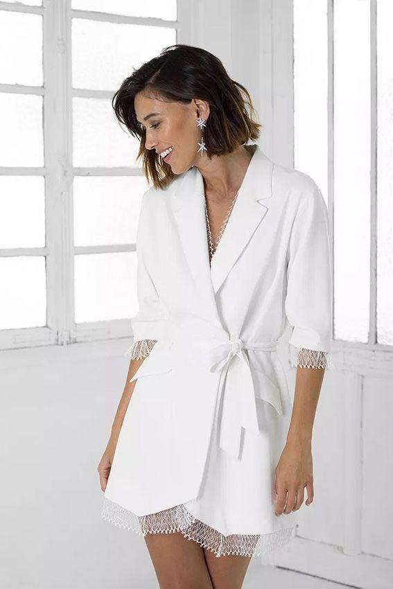 Diez looks de novia por los que querrás casarte con blazer blanca