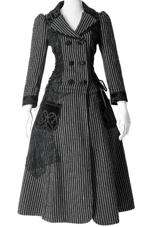black and white pinstripe elegant lolita autumn coat $99