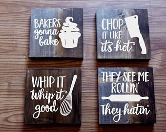 set of 4 funny kitchen signs, kitchen signs, farmhouse sign, rustic ...