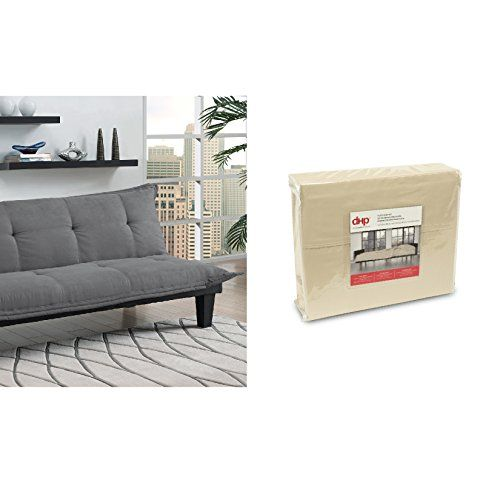 Dhp Lodge Convertible Futon Couch Bed Gray And Sheet Set Beige