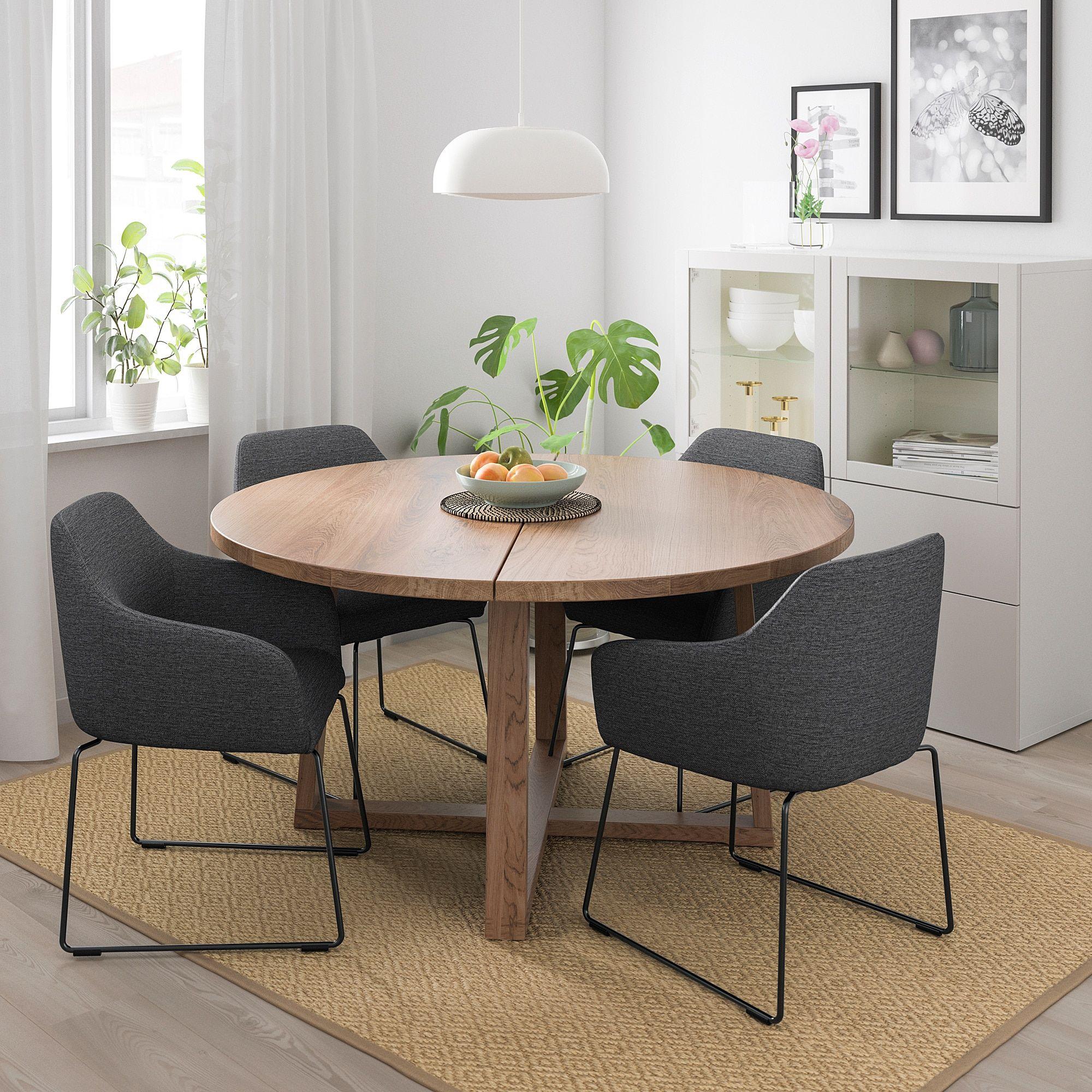 Morbylanga Tossberg Tisch Und 4 Stuhle Eichenfurnier Braun Las Metall Grau Ikea Osterreich Haus Deko Ikea Tisch Rund Wohnzimmertische