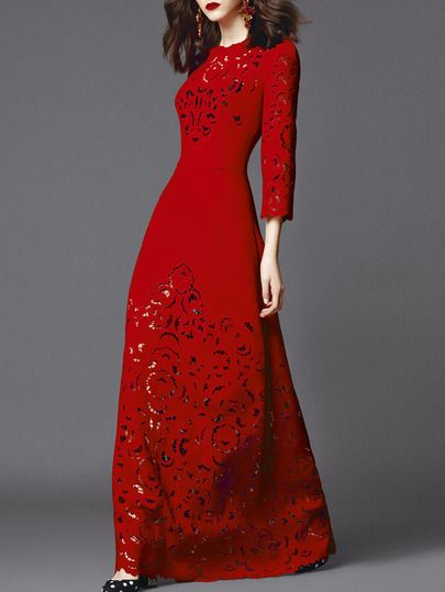 Red Round Neck Length Sleeve Hollow Dress Red Dress Maxi Beautiful Dresses Fashion