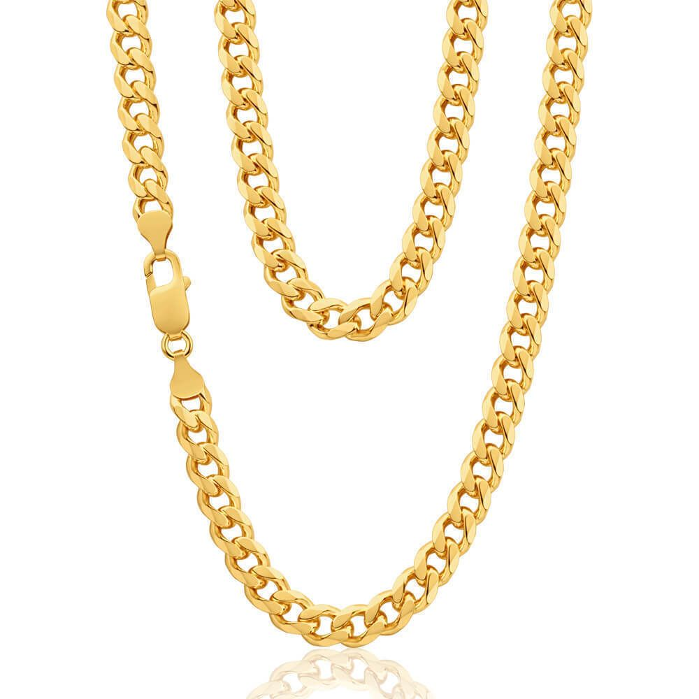 Mens Solid 9ct Yellow Gold Curb Chain 24 Inch 35 Grams Gold Chains For Men Chains For Men Gold Chains
