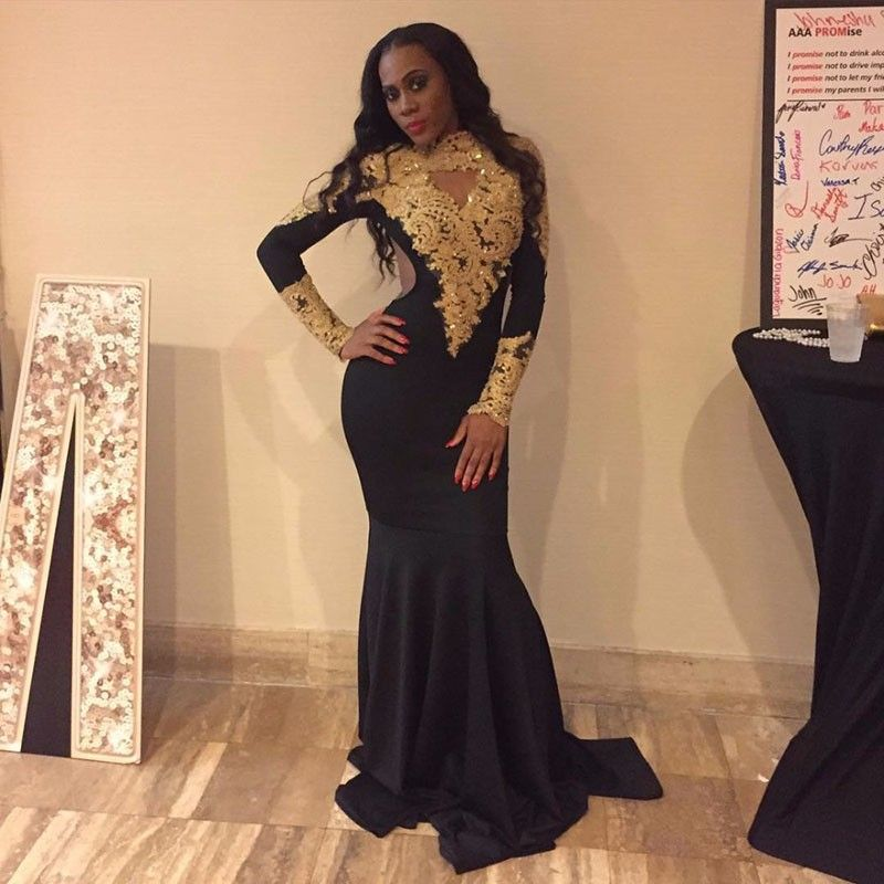 sexy african high neck black girl mermaid prom dresses