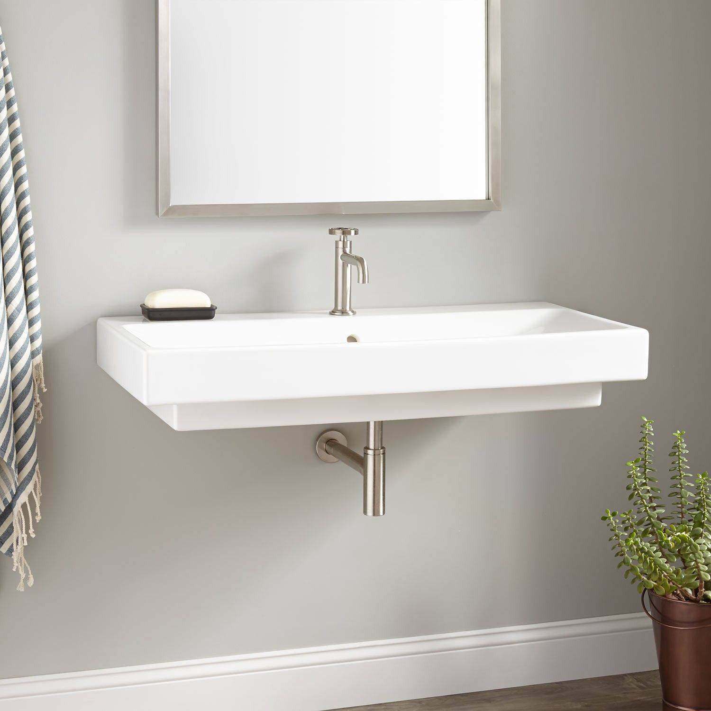 """39"""" Stoddert Porcelain Wall Mount Sink"""