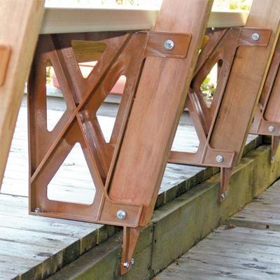 Peak Plastic Bench Bracket In Redwood Home Depot Canada Deck Bench Wooden Pool Deck Plastic Decking