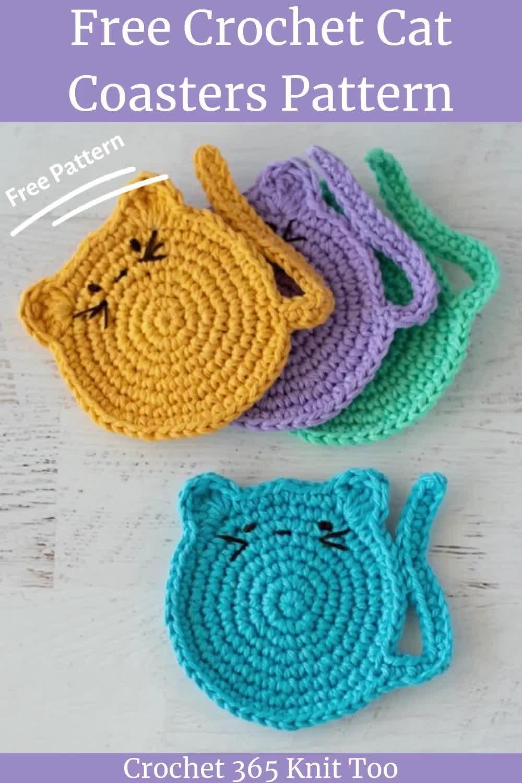 Cute Crochet Cat Coasters