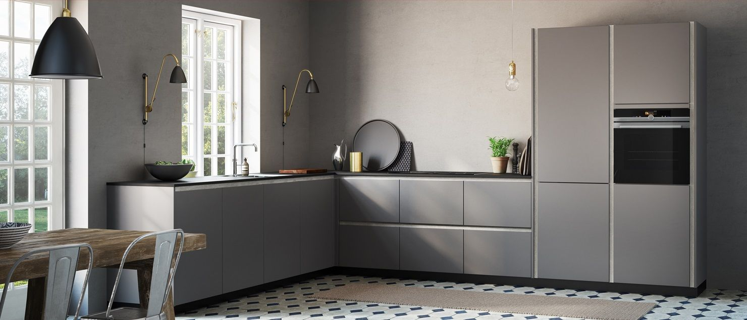 tinta grey cool calm grey kitchen here shown with concrete look on horizontal and vertical on kitchen cabinets vertical lines id=58844
