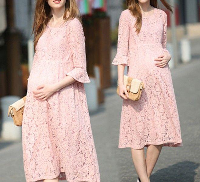 Pink evening maternity dress