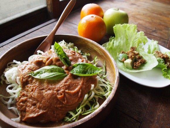 ローズッキーニのパスタと簡単サラダタコスのレシピ。詳細はこちらhttp://aya-papaya.com