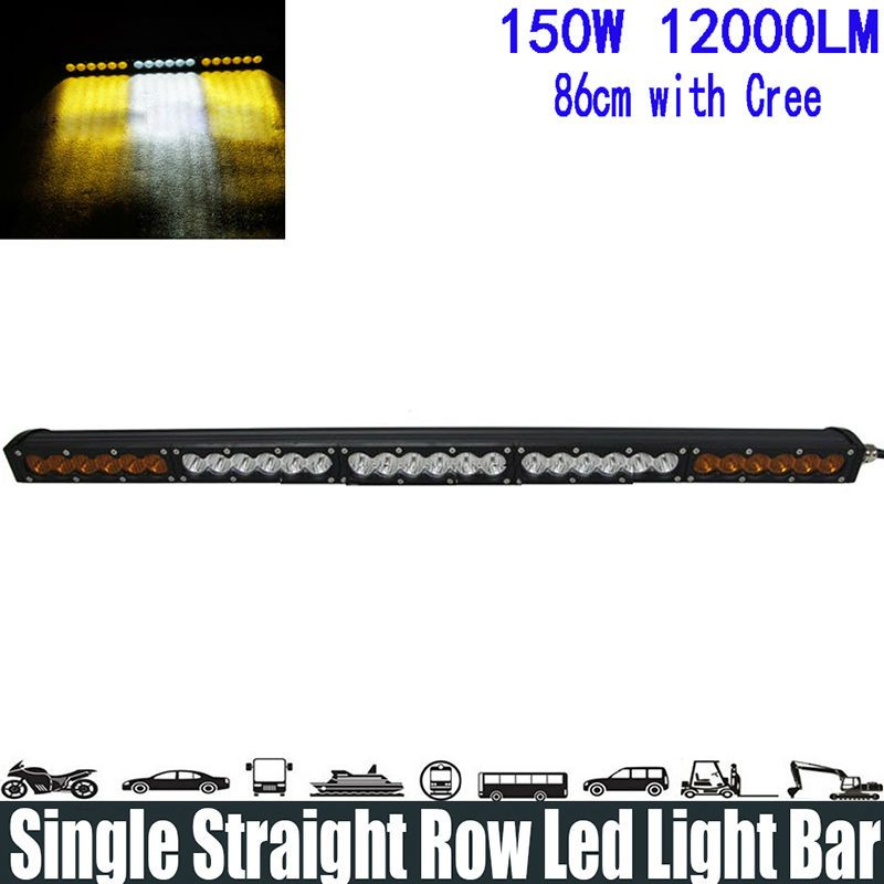 150w 32 white amber yellow single row led light bar spotflood 150w 32 white amber yellow single row led light bar spotfloodcombo aloadofball Image collections
