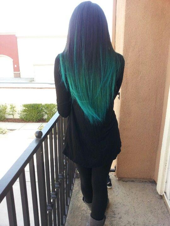 hair, hair color, tips, black, black hair, teal, teal hair