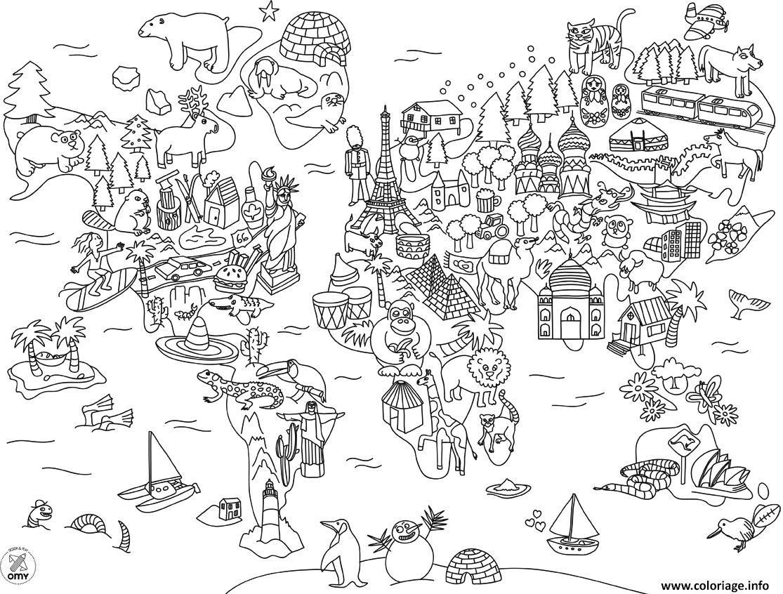 Coloriage xxl, Coloriage, Carte du monde