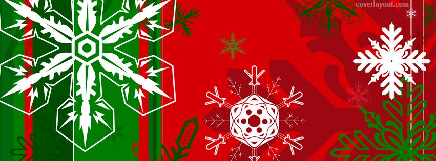 Holiday Red Green Snow Flakes Facebook Cover CoverLayout.com ...