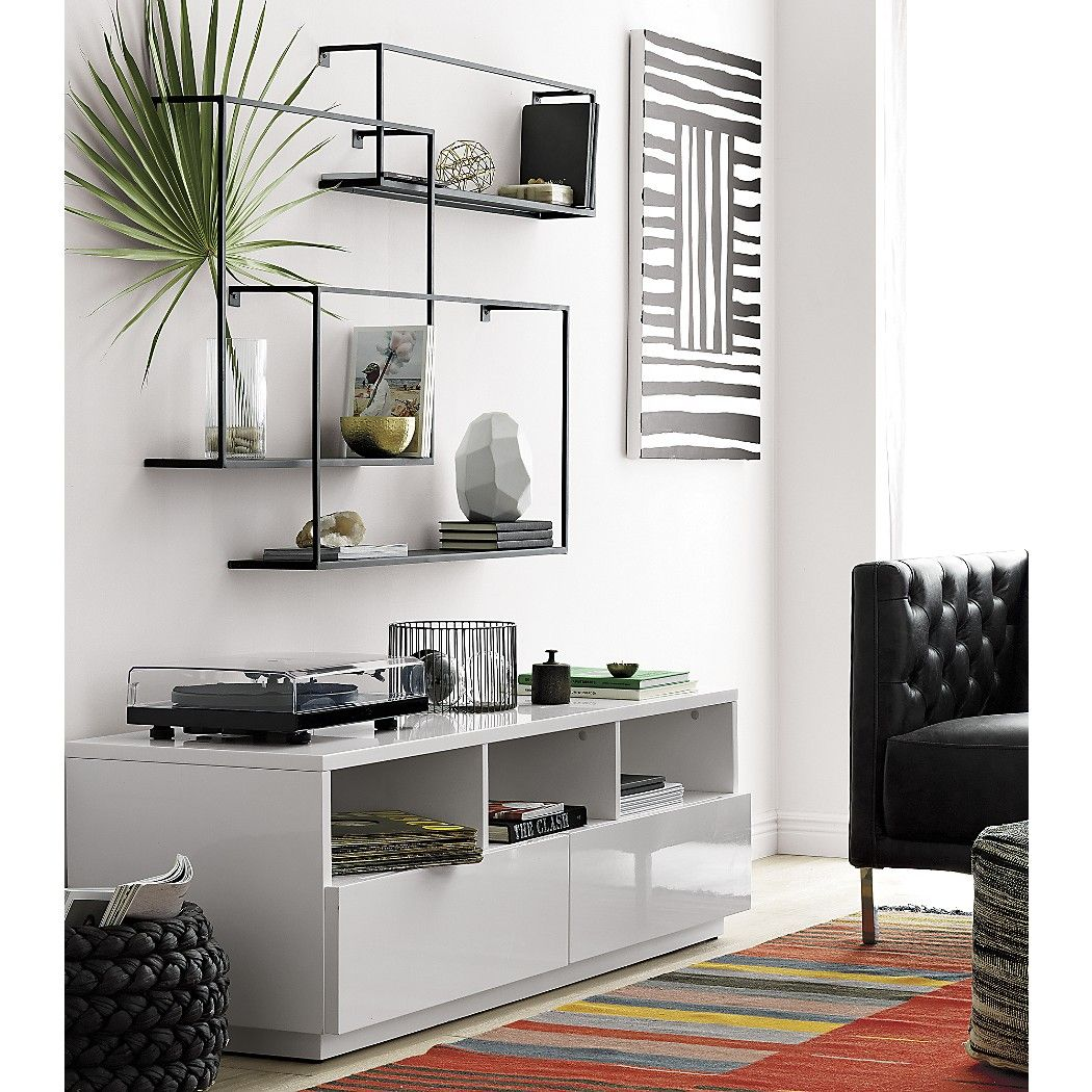 Shop 3 piece floating large matte black shelf set sculptural industrial set composes geometric gallery in raw iron