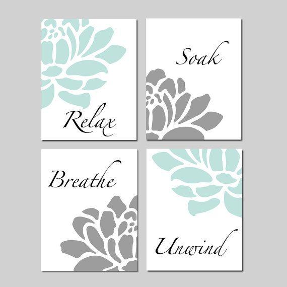 Photo of Relax Soak Unwind Bathroom Decor Wall Art Set of 4 Prints or Canvas – Aqua Grey Bathroom Art With Flowers Petals – CHOOSE YOUR COLORS
