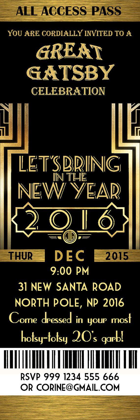 Great Gatsby Invitation, New Year invitation, New Year\'s Eve ...