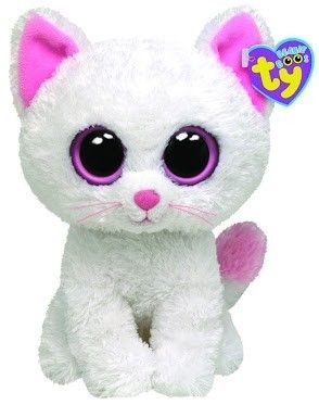 Ty Beanie Boo s Kitty Cat White Kitten Pink Eyes