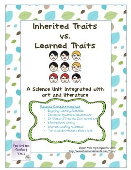 Inherited and Learned Traits, Basic Heredity Unit Grade 3-6 ...