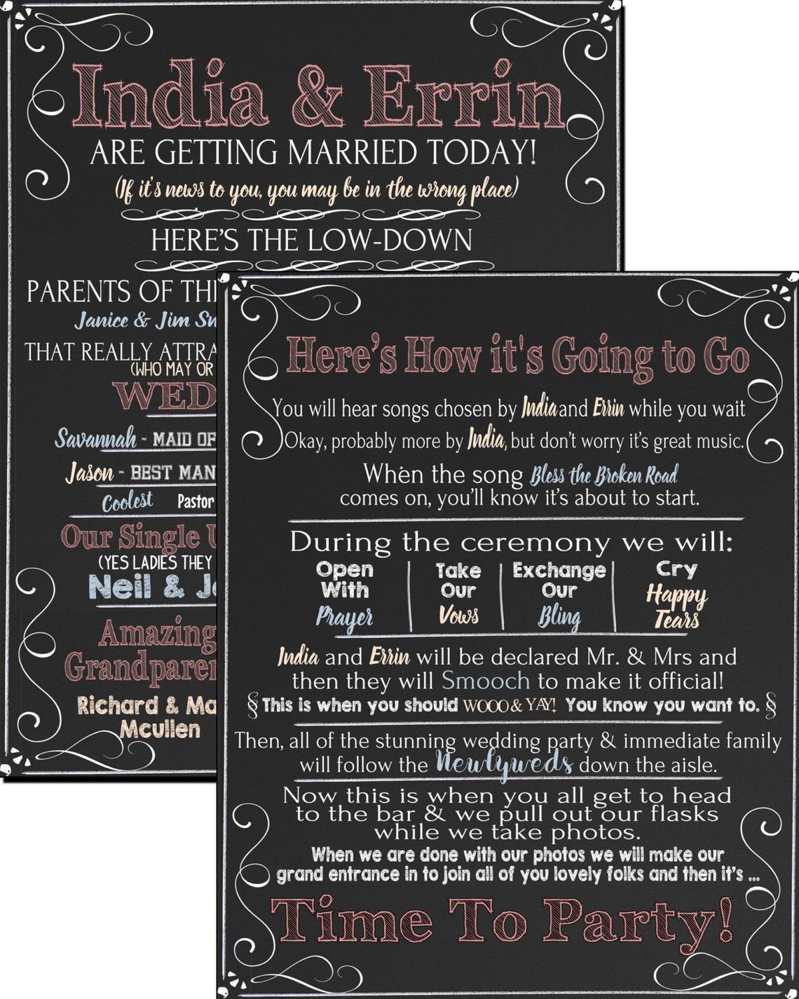 Modern twist on wedding programs enjoyable funny wedding