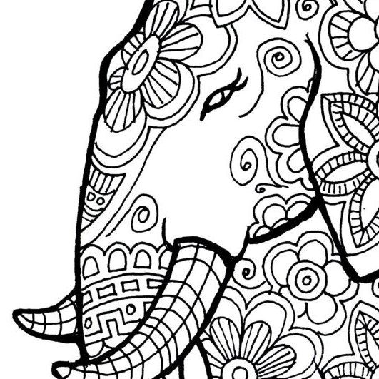 Elephant Coloring Page To Print And Color Nature Flowers Adult