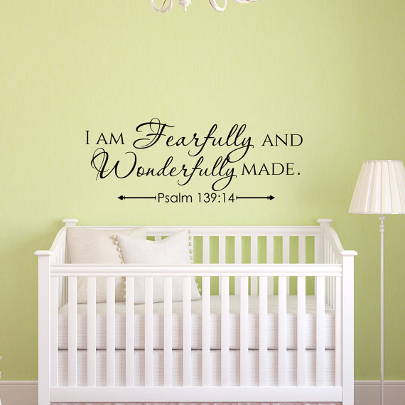 I Am Fearfully And Wonderfully Made Psalm Wall Decal- Scripture Wall ...