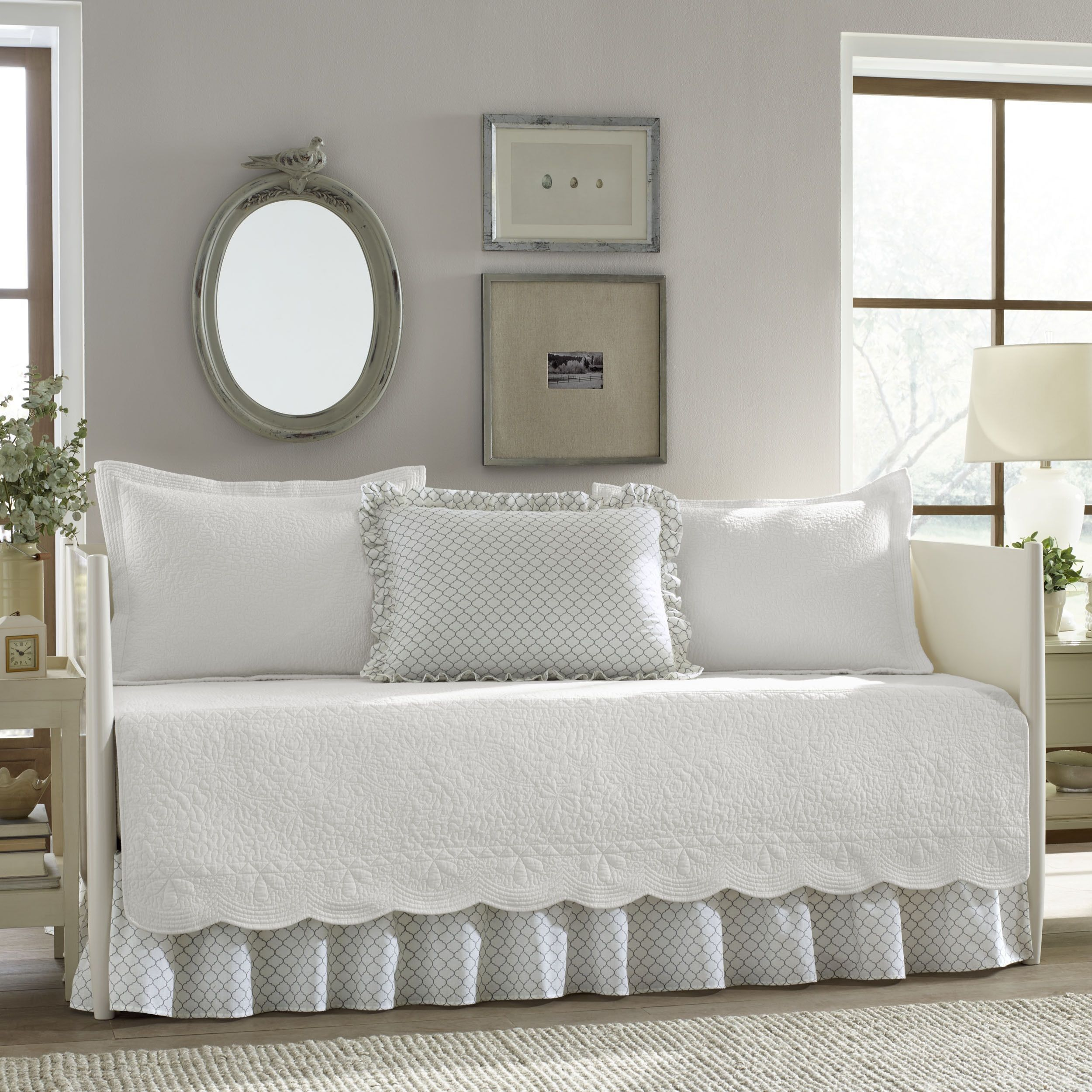 stone cottage trellis white 5 piece daybed cover set overstock com