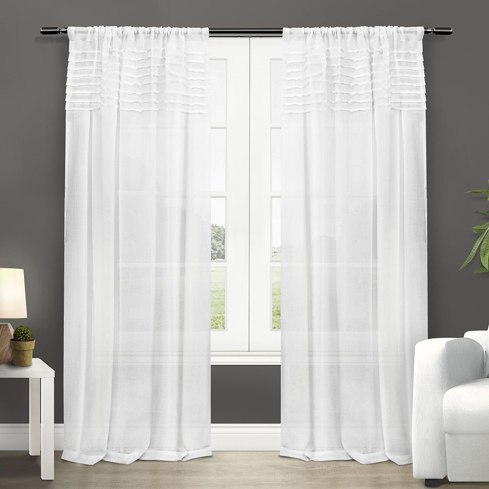 Bed bath and beyond window curtains  ati home barcelona rod pocket window curtain panel pair white